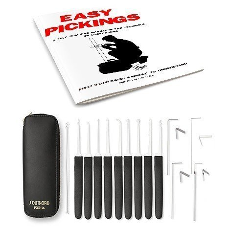 14 PIECE LOCK PICK SET W/ INSTRUCTIONAL MANUAL (EASY PICKINGS)