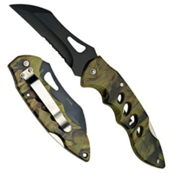 "Forest Hunter 4"" Folding Knife w/ Pocket Clip & Black Tactical Blade"