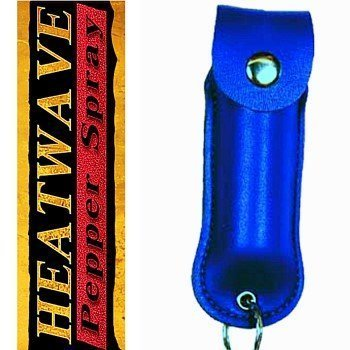 HEATWAVE .5 oz. HOLSTERED KEY-CHAIN PEPPER SPRAY -Blue