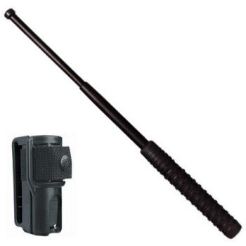 "21"" Baton & Holster ~ Expandable / Telescopic (TK1414) ~ Rubber Handle ~ Black"
