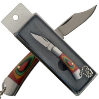 Key-Chain / Pocket Knife ~ Multi-Color Wood Handle
