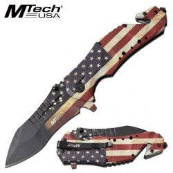 SPRING ASSISTED KNIFE ~ MTECH USA ~ American Flag