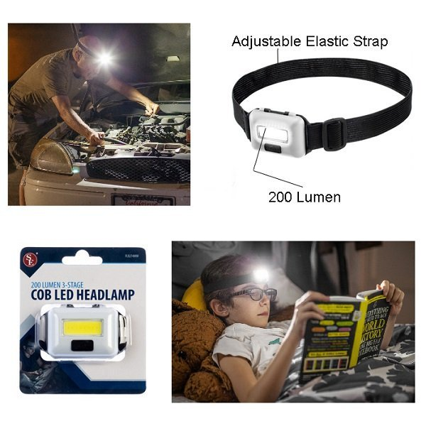 200 Lumen/ 3 Stage COB LED HeadLamp - White