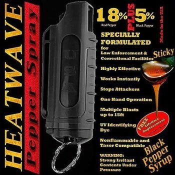 HEATWAVE .5 OZ. PLASTIC MOLDED PEPPER SPRAY W/ KEY RING