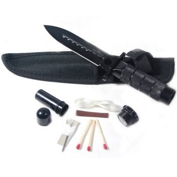 "Hunting / Survival Double Edge Knife - 8"" ~ Stainless Steel ~ w/ Kit & Pouch ~ Black"