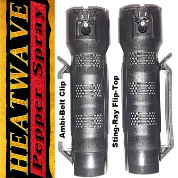 "HEATWAVE ""STINGRAY"" Flip-Top Tactical Grip (3/4 oz Container) ~ 23% O.C. Pepper Spray ~ Ambidextrous Duty Belt Clip"