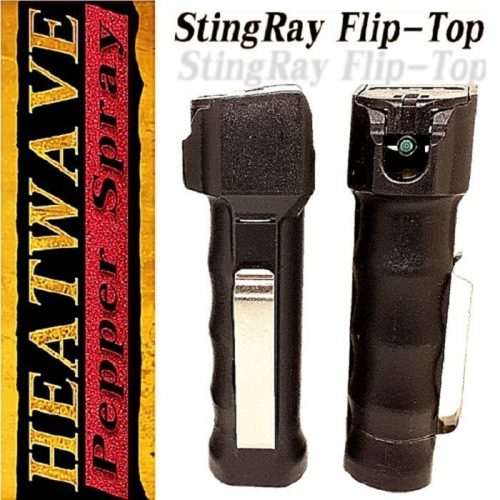 HEATWAVE MK22 STINGRAY Flip-Top Tactical Grip (3/4 oz Canister) ~ 23% O.C. Red & Black Oleo ~ Ambidextrous Stainless Steel Duty Belt Clip