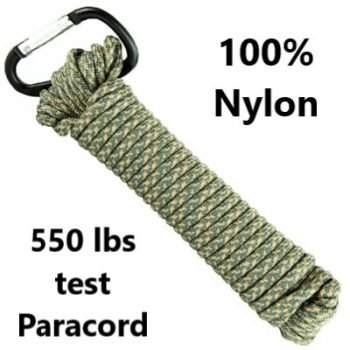 UST ~ 550 lb test 100% Nylon Paracord - 30' - Green & Silver Camo