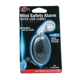 Mini Safety Alarm w/ LED Light - Black